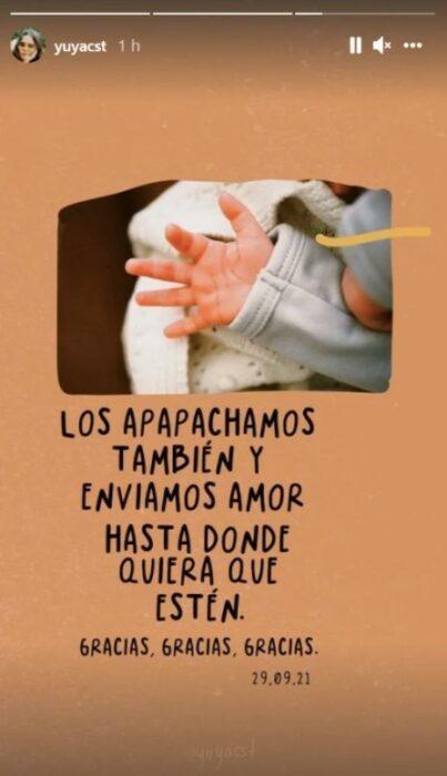 Yuya muestra la mano de su bebé en Instagram