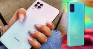 Modelos de celulares en tonos pastel con cuatro cámaras